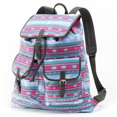 Candie's Rachel Aztec Buckle Backpack (Blue) ($30) ❤ liked on Polyvore featuring bags, backpacks, blue, vegan backpack, vegan leather backpack, buckle backpack, drawstring bag and handle backpack