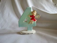 Vintage Norcrest 4th Birthday Candle Holder Angel Figurine - F283 Japan (06/19/2012)