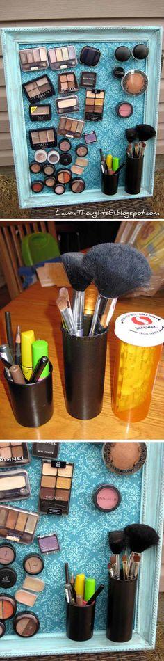 DIY Makeup Board - Pill Bottle Organization Ideas | http://diyready.com/15-awesome-diy-uses-for-pill-bottles/