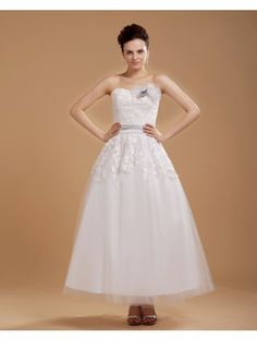 Scoop Neck Lace Applique Ankle Length Fall Wedding Dress With Flowers Mini Wedding Dresses, Wedding Dress 2013, Wedding Dresses With Flowers, Cheap Wedding Dress, Wedding Dress Styles, Bridal Dresses, Bridesmaid Dresses, Gown Wedding, Prom Dresses