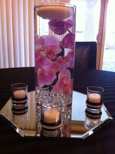 DIY centerpiece- orchids with floating candles :  wedding black purple white flowers diy Photo1