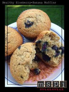 Healthy Blueberry-Banana Muffins