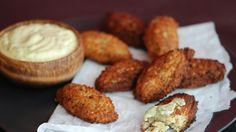 Quinoa Fritters with Ají Amarillo Aioli Recipe | Bon Appetit