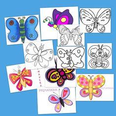 Mariposas para colorear y decorar en primavera - Escuela en la nube