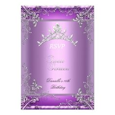 RSVP Sweet Sixteen 16 16th Birthday Party Purple Announcements