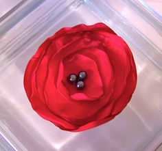 Hair Accessory Bright Red Flower brooch by BowsandDivaThings