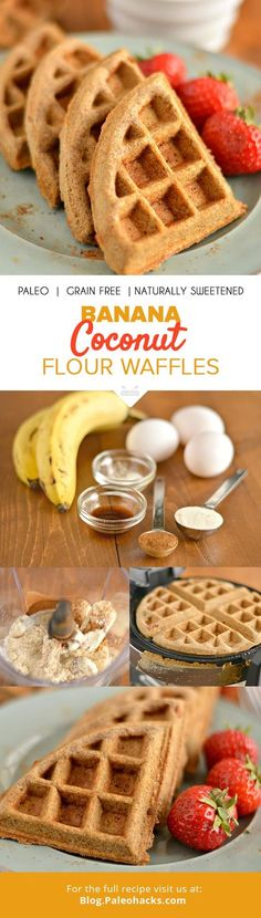 These paleo. co/Paleo Banana Coconut Flour Waffles are dairy-free, gluten-free, grain-free and naturally sweetened. For the full recipe, visit us here: CFwaffles co/paleo. Coconut Flour Waffles, Coconut Flour Recipes, Healthy Waffles, Paleo Pancakes, Weight Watcher Desserts, Breakfast Desayunos, Breakfast Recipes, Dinner Recipes, Potluck Recipes