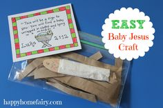 easy baby Jesus craft at happyhomefairy.com - really simple - would work great as a sunday school craft or at a happy birthday jesus party favor!