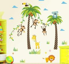 Forest Animals Giraffe Lion Monkey Palm Tree Wall Stickers With Motif for Kids Children Room Wall Mural Nursery Decoration Bedroom Poster Mural Wall Stickers Uk, Personalised Wall Stickers, Large Wall Decals, Wall Stickers Animals, Custom Wall Decals, Wall Decals For Bedroom, Nursery Wall Stickers, Removable Wall Stickers, Kids Wall Decals