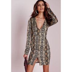 Missguided Long Sleeve Plunge Bodycon Dress Snake ($51) ❤ liked on Polyvore featuring dresses, brown, plunge neck dress, plunging neckline dress, long sleeve mini dress, bodycon dress and snake print dress