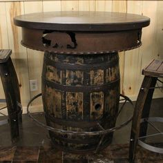 The Whiskey Barrel Pub is made from reclaimed whiskey barrel. This table will look beautiful in your home, lodge, log cabin, or country cottage. Visit us online or call for more log furniture. Wine Barrel Table, Wine Barrel Furniture, Log Furniture, Barrel Bar, Modern Furniture, Furniture Design, Rustic Bar Tables, Barnwood Dining Table, Bistro Tables