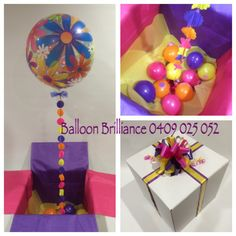 """Balloon Flower Bubble in a Box"" ➡️ Learn how to make your own Balloon in a Box here: http://www.balloon-decoration-guide.com/balloon-in-a-box.html"