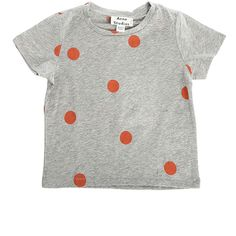 Acne Mini Grey Dot Tee ($65) ❤ liked on Polyvore featuring tops, t-shirts, clothing kids, women, gray tee, unisex t shirts, cotton tee, polka dot t shirt and mini t shirts