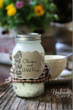 Homemade Chicken and Wild Rice Soup- Makes a great gift in a mason jar!
