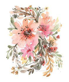 Another great find on #zulily! Boho Chic Light Pink Flower Art Print #zulilyfinds