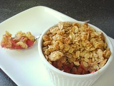 rhubarb crisp. just sub a vegan butter.