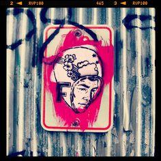 """FAILE """"F-Head"""" on Instagram: From the Archives (@faileart)  #stencil on a #street sign -  #Brooklyn, #NewYork #faile"""""""