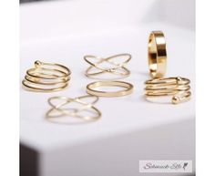 6 tlg. Ring Set Midi Knuckles Rings gold