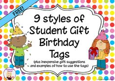 FREE Student Gift Birthday Tags by Imaginative Teacher Classroom Birthday Treats, Student Birthday Gifts, Birthday Treat Bags, Birthday Tags, Student Gifts, Birthday Ideas, Happy Birthday, First Grade Gifts, Reading Intervention Activities