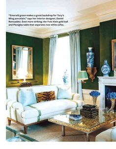 ginger jar  tory burchpretend the walls are ccream amd the couch is green new york home