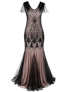 online shopping for kayamiya Women Long Prom Gown Beaded Sequin Art Deco Formal Evening Dress With Sleeve from top store. See new offer for kayamiya Women Long Prom Gown Beaded Sequin Art Deco Formal Evening Dress With Sleeve Sequin Evening Dresses, Evening Dresses With Sleeves, Long Prom Gowns, Gowns With Sleeves, Dress Long, Sequin Dress, Cap Sleeves, Robes Vintage, Vintage Dresses