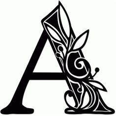 Silhouette Design Store: Vine Monogram A Silhouette Design, Lettering Styles, Hand Lettering, Vine Monogram, Fancy Letters, Alphabet Design, Letter Stencils, Stencil Patterns, Illuminated Letters
