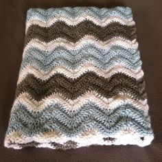 Light Blue, Grey and White Hand Made Crochet Chevron Baby Blanket Afghan Throw - Travel Size by scarletngreycrochet on Etsy