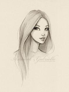 Long Hair Girl, illustration, drawing, sketch / Ragazza capelli lunghi, illustrazione, disegno, schizzo - Artwork by Gabrielle (Art by gabbyd70 on deviantART)
