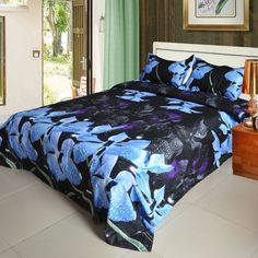 Orchid Flower Pattern 4Pcs 3D Printed Bedding Set Bedclothes Home Textiles King Queen Size Quilt Cover Bed Sheet 2 Pillowcases