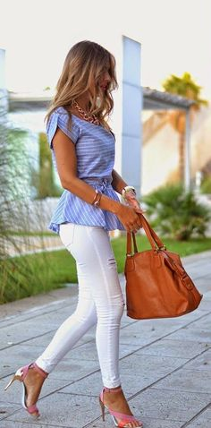 This is a great outfit for tall and slim women. The peplum top creates an illusion of a waist, and the fitted pants showcase your tone legs.