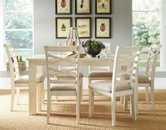 Casual, White Dining Room Set | Redondo Lite 7 Piece Dinette Set