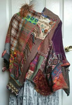 Patchwork Poncho wrap wool tartan plaid upcycled clothing winter autumn ethical fashion Source by winter Altered Couture, Sewing Clothes, Diy Clothes, Vetement Hippie Chic, Diy Fashion, Ideias Fashion, Fashion Clothes, Fashion Accessories, Ropa Shabby Chic
