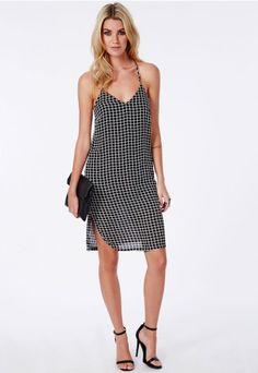 Midi Cami Dress Grid Print Black - Missguided
