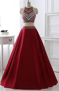 Burgundy Two Pieces Prom Dress, Prom Dresses,Graduation Party Dresses, Prom Dresses For Teens