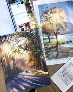 Landscaping Contractors Near Me Code: 7901974692 Watercolor Illustration, Watercolor Art, Watercolor Landscape Paintings, Les Oeuvres, Painting & Drawing, Amazing Art, Photo Art, Cool Art, Art Drawings