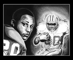 Tom Kbrink's Art and Holistic Living: Barry Sanders - portrait of a football great!