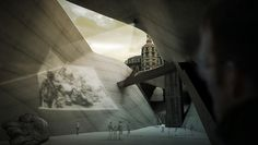 View of a design for a museum designed around abandon subway tunnels.
