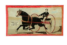 "Hooked Rug ... Smuggler ... Record Breaking Time of 2.20 ... Wool On Burlap ... American ... C 1874 ... 40"" x 76"""