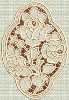 Great website for Machine embroidery,,Advanced Embroidery Designs - Three Roses Medallion Cutwork Lace