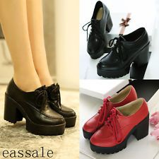 Retro Womens Gothic Chunky High Heel Lace Up Platform Mary Jane Oxford Shoes New