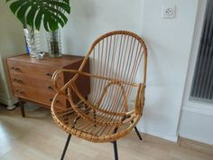 Stylish Mad Men 60s /// Rohe Noordwolde /// Rattan Bamboo chair /// Wicker on Etsy, $62.39