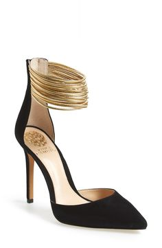 Swooning over this sleek pointy-toe pump with gold leather straps around the ankle. This stunning and elegant shoe would look gorgeous with the perfect LBD.
