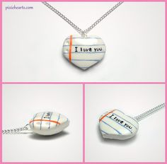 I Love You Pendant Polymer Clay Necklace Cute by PixieHearts, $15.00