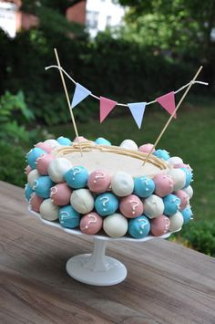 Cake Ball Cake and a Baby Gender Reveal! | Unsalted Momma