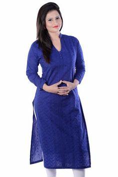 LadyIndia.com # Cotton Kurti, Stylish Floral Cotton Blue Kurti For Women, Kurtis, Kurtas, Cotton Kurti, https://ladyindia.com/collections/ethnic-wear/products/stylish-floral-cotton-blue-kurti-for-women