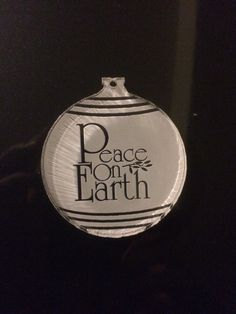 "Peace on Earth Acrylic Christmas Ornament, 1/4"" thick and 2"" 1/4 width. Beautiful see thru words with a frosted background. by ShelbyLaser on Etsy"