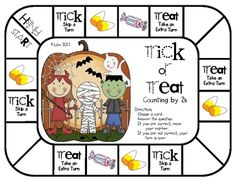 A great way to practice counting by 2s with a Halloween theme. This math game can be used for math centers/stations/tubs, partner games, or small g...
