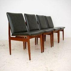 Set of 4 Retro Australian Teak Dining Chairs by Parker Vintage 1950's