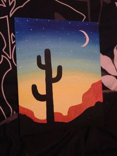 Desert Sunset Cactus Painting, # Desert Sunset Cactus Painting canvas art Desert Sunset Cactus Painting The Effective Pictures We Small Canvas Paintings, Easy Canvas Art, Small Canvas Art, Cute Paintings, Mini Canvas Art, Acrylic Painting Canvas, Simple Paintings, Hippie Painting, Trippy Painting