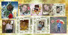 Mosaico de 9 fotos com fundo abstrato